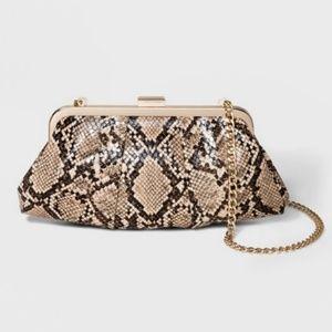NWT Convertible snakeskin purse